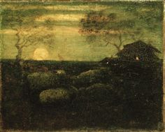 """The Sheepfold,"" Albert Pinkham Ryder, late 1870s, oil on canvas, 8 5/8 x 10 5/8"", Brooklyn Museum."