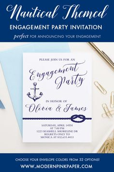 Elegant and Simple Engagement Party Invitations Calligraphy