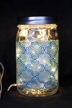 Mason Jar Light. Blue Design. by TheSunroom252 on Etsy