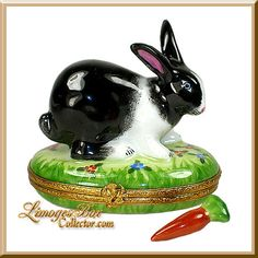 Black & White Rabbit Limoges box by Beauchamp Limoges www.LimogesBoxCollector.com