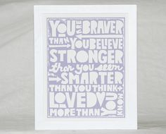You are Braver than You Believe Quote Wall Art, Childrens Room decor, Baby Nursery Art, TYPOGRAPHY, Mothers Day