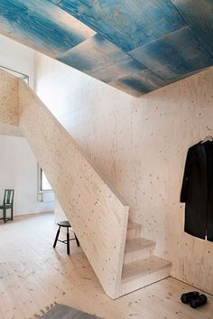 The Plywood House, designed by Swedish architect Tommy Carlsson. The property is marketed by Fantastic Frank. Photography by Andy Liffner and interior styling by Sofie Ganeva, via Fantastic Frank. Plywood House, Plywood Walls, Plywood Furniture, Home Furniture, Plywood Ceiling, Wood Celing, Ceiling Tiles, Plywood Interior, Interior Stairs