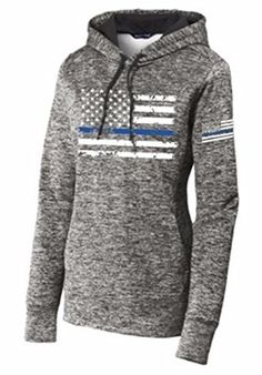 0d811fa6f8caf Ladies Distress American Thin Blue Line Flag Grey-Sport-Tek PosiCharge  Electric Heather Fleece