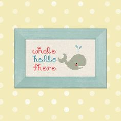 Whale Hello There. Pun Cross Stitch Pattern PDF by andwabisabi, $3.50