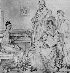 Stamaty family portrait by Jean-Auguste-Dominique Ingres.