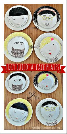Build-a-face plates!  So fun and simple!  #craft #DIY #plates #kitchen