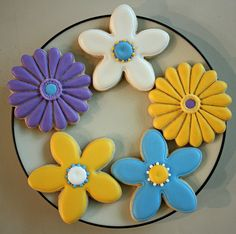 Get well Set of purple, blue, yellow & white chrysanthemums and daisy flower cookies