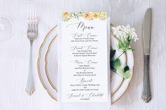 Blush Floral Menu Template, Wedding Table Decor 100% Editable Templett  PPW0225 Wedding Day Timeline, Wedding Vows, Wedding Table, Our Wedding, Bow Template, Menu Template, Bridal Bingo, Bridal Shower Games, Printing Services