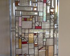 Stained Glass Mosaic Panel Transom Window w Brazilian Agates | Etsy Stained Glass Patterns, Stained Glass Art, Stained Glass Windows, Modern Stained Glass Panels, Leaded Glass, Beveled Glass, Mosaic Glass, Mosaic Art, Fused Glass