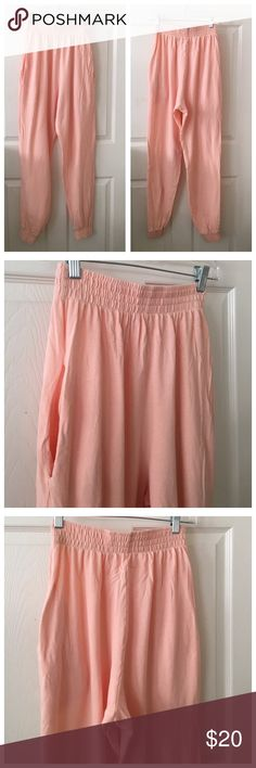 American apparel peach drop crotch pants small High waist, drop crotch american apparel pique knit pants size small. A little sheer 2 pockets, very good used condition with no flaws worn and washed once. Jogger/ harem style. American Apparel Pants
