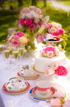 Cake and bubbles are almost always a must!