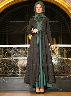 Kaftan Evening Dress - Green - Muslim Evening Dresses - Modanisa