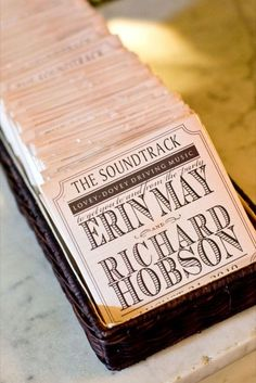 Cute Favor idea! It's a soundtrack. Very creative & personal, like a mix tape || Photo from Society Bride || Selected by Finepointwedding.com