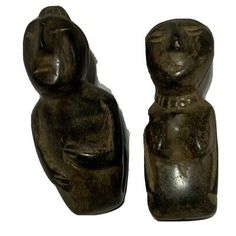 """Man & Woman Pair Carved Stone Effigy Figures Detailed Modern Art Sculpture 3"""" 