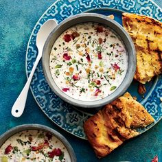 """Chilled Persian Yogurt Soup: """"Ask anyone on my staff their favorite summer dish, and they'll tell you it's this one,"""" says Hoss Zaré. Filled with herbs, nuts and raisins, the soup is delicious with grilled bread. Food and Wine Magazine. Wine Recipes, Soup Recipes, Cooking Recipes, Summer Vegetable Recipes, Chilled Soup, Summer Dishes, Summer Food, Le Diner, Food Truck"""