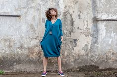 Sukienka Ethno On My Back Sea Blue  | www.kokoworld.pl #kokoworld #handmade #dress #ethno