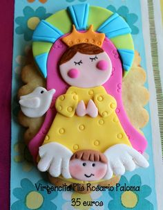 Virgencita plis cutters but use model to create topper) Baptism Cookies, Biscuit, Western Food, Communion Cakes, First Holy Communion, Pasta Flexible, Cold Porcelain, Gum Paste, Cupcake Cookies