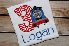Thomas the Train Birthday shirt Personalized Blue Train Number 1-9