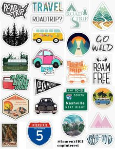 road trip sticker pack cars vans mountains camping road signs vacation road trail see the world enjoy the ride retro vintage sticker pack overlays edits hydroflask stickers laptop stickers phone case Printable Stickers, Car Stickers, Laptop Stickers, Snapchat Stickers, Journal Stickers, Vintage Sticker, Motifs Blackwork, Collage Mural, Cute Sticker