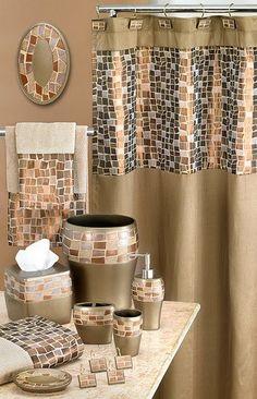 Amazon MOSAIC STONE BRONZE 6X6 SHOWER CURTAIN Home Kitchen Warm BathroomBathroom Rug SetsBathroom