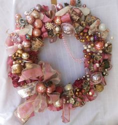 Vintage jewelry pink wreath handmade ornament wreath by GrandmasWreaths on Etsy