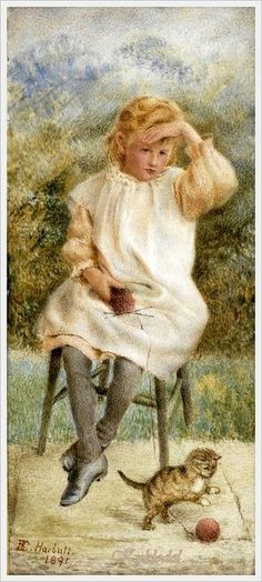 Elizabeth Harbutt (British painter) «A Girl, seated on a stool in a garden», 1891