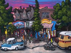 """""""Shorty's - Seattle"""" Original painting on 3-D wood panel"""