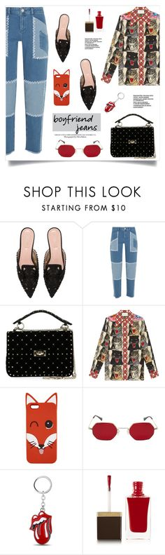 """""""Borrowed from the Boys: Boyfriend Jeans"""" by alinepinkskirt on Polyvore featuring Alberta Ferretti, House of Holland, Valentino, Gucci, Maison Kitsuné and Tom Ford"""