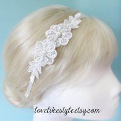 Ivory Beaded Flower Lace Headband / Bridal ivory  by lovelikestyle, $17.00