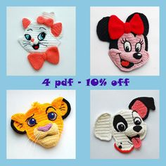 Crochet Patterns. Cartoon Appliques. Simba. Minnie. Patch. Marie.