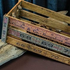 crate made of old wooden rulers and yardsticks