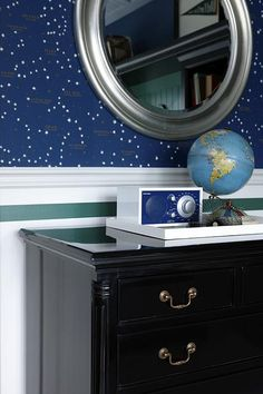 constellation wallpaper - teen boy's room by sarah richardson
