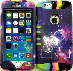 """Amazon.com: Purple, Pink ans White """"Brilliant Nebula Anchor with Non-Slip Grip Texture"""" 3 Piece Layered ULTRA Tuff Custom Armored Hybrid Case for the NEW iPhone 6 Plus 5.5"""" Inch Smartphone by Apple {Made of Soft Silicone Gel and Hard Rubberized Plastic with External Built in Kickstand} """"All Ports Accessible"""": Cell Phones & Accessories"""