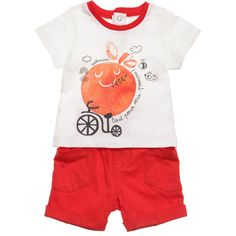 Catimini boys adorable two piece outfit made from a soft cotton jersey. This lovely set comprises of an off-white t-shirt with a red apple character print with popper details at the back for ease of dressing. The matching shorts are in bright red jersey, with an elasticated waist, turned back cuffs and patch pockets.<br /> <ul> <li>100% cotton (soft jersey)</li> <li>Machine wash (30*C)</li> <li>2 piece set</li> </ul>