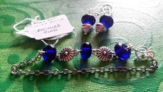 jewellery set bracelet and earrings. lampwork recycled glass beads. made in Ireland. by terramor on Etsy