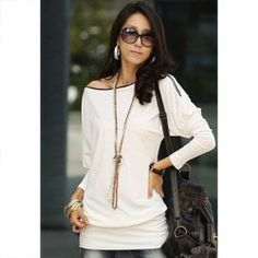 $6.85 Charming Boat Neck Solid Color Zipper Embellished Long Sleeve Cotton Blend T-Shirt For Women