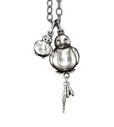 Ole Lynggaard Copenhagen My Friend Mother and Baby Penguin pendant oxidized sterling silver on an anchor link chain - Kennedy Jewellers My Friend Mother, Mother And Baby, Baby Penguins, Crown Princess Mary, Oxidized Sterling Silver, Copenhagen, Anchor, Jewels, Drop Earrings
