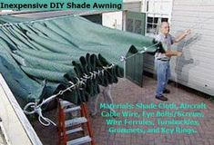 """DIY RETRACTABLE SHADE AWNING FOR UNDER $200! Video with step by step instructions! ***Look in the """"COMMENTS"""" section. """"Tell It Like It Is"""" has written instructions & material list with tips!"""