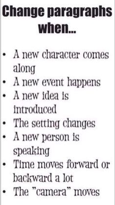 Start a new paragraph when.....