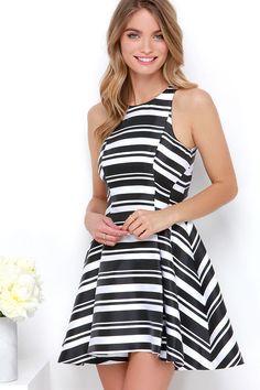 Cameo Brightside Black and White Striped Dress