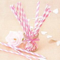 Pajitas de papel de rayas rosa - candy