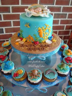 10 Fun Baby Shower Cake Themes - Love this ocean inspired under the sea baby shower cake!