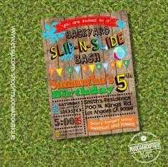 Slip N Slide birthday bash invitation waterslide party invite summer party wood digital digital printable invitation you print 13671 by myooakboutique on Etsy