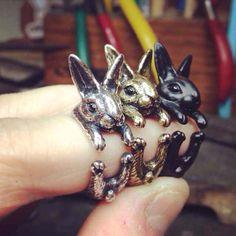 Handmade Dettagliate Bunny Anello A Forma di Animale Coniglio Intorno Squilla I Monili Animali Anelli Grande Regalo per le Donne Del Partito Anello Regolabile