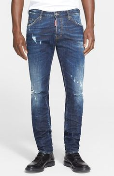 Dsquared2 'Cool Guy' Slim Fit Distressed Jeans (Blue) available at #Nordstrom