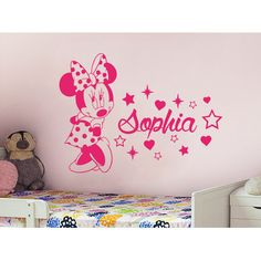Decal House Minnie Mouse Personalized Name Wall Decal Color: Blue