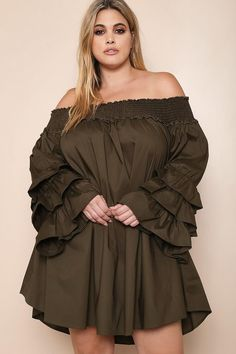 2abd44968b144 A cute and Boho plus size mini dress. Features a shirred off-shoulder  neckline and long