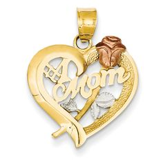 Jewel Tie 10K Rhodium Plated Yellow Gold Heart Charm 0.79 in x 0.59 in