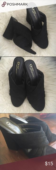 Black platform heels Size 8.5 but I'm a 7.5 and these fit me. Worn once to the opera house. ASOS Shoes Sandals