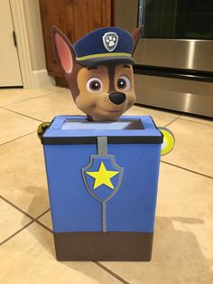 Oliver insisted that we give Chase a head. Chase from Paw Patrols Valentine's Day box.
